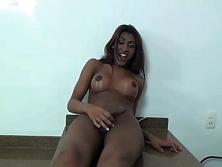Ebony Latina Shemale Masturbation