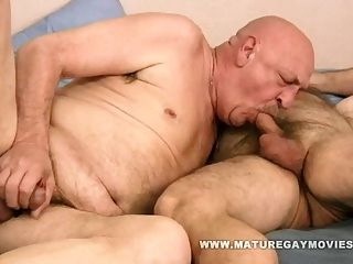 Chubby Hairy Daddy Fuck His Bald Mature Lover