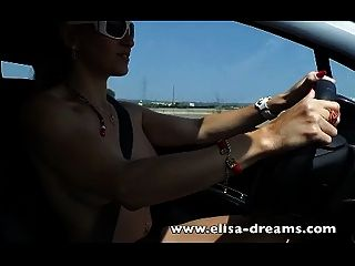 Blonde Driving Naked And Masturbating