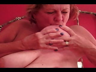 Huge Tits Granny Sucks Own Nipples, Blows Young Cock