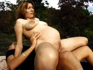 German hostess fucks outdoor with normal boy on event