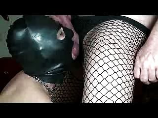 Submissive Blowjob Black Latex Hood