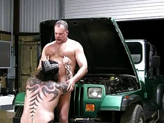 image Huge tattooed mechanic fucks hairy coworker