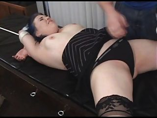 Strapped Bed Leather Vibrator Forced Cum