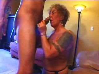 Tattooed Old Biker Chick Gets Freaky