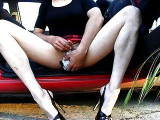 Crossdresser Wanking In Heels