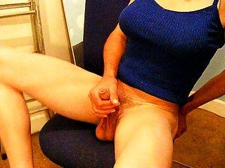 Crossdresser Wanking And Cuming
