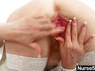 Redhead Amateur Lady Stretching Her Red Hairy Pussy