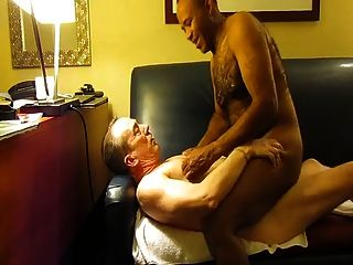 White Daddy Makes Black Daddy Cum From Breeding