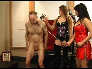 2 Mistresses Fuck The Slaves Hard Cock