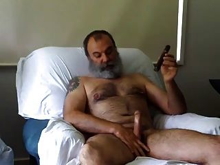 Bear Daddy Smoking And Jerking Off