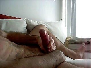 Huge rubber cock in panties mirror cum