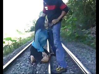 Rough Blowjob On The Train Tracks