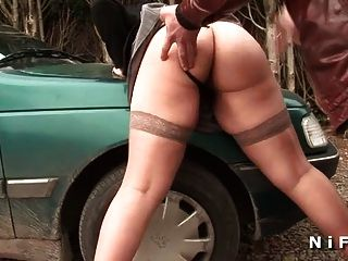 French Brunette Sodomized In Threesome With Papy Voyeur