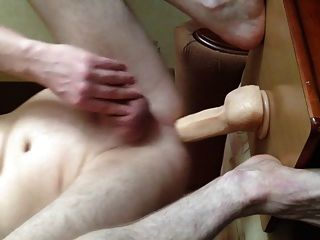 Jumping On A Big Dildo With Fleshlight Sextoy And Cumshot