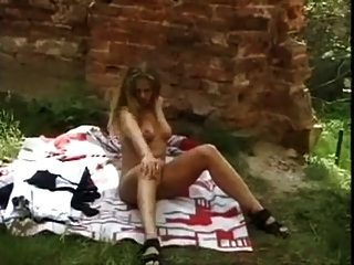 Naked Blonde Plays Outdoor By Snahbrandy
