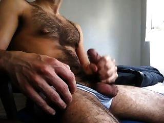 Hairy Guy Jacking Off Big Cock