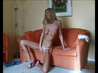 Little Blonde With Big Dildo