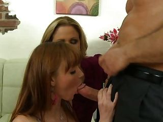 Threesome With Cute Young Girl And Milf