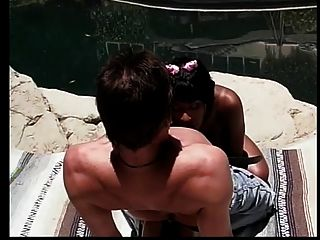 A White Guy Gets To Ass Fuck A Gorgeous Brown-skinned Exotic Slut By The Pool.