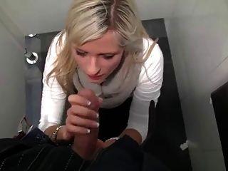 Blonde Sucks And Fucks In Public Bathroom