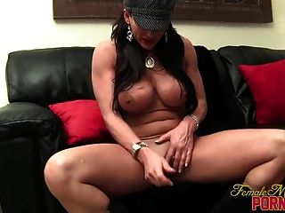 Big Tit Brunette Masturbates With Vibrator