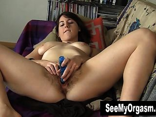 Busty Amber Toying Her Hairy Quim