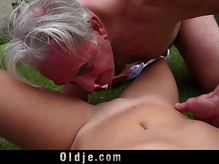 Big Dong Senior Fucks Cutie In Bridge Position