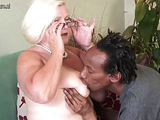 White Grandma Fucks Black Skinny Boy