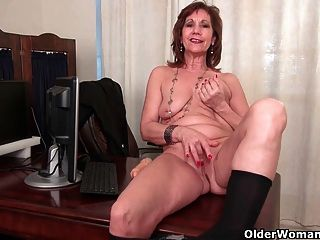 Business Woman Masturbates In Pantyhose