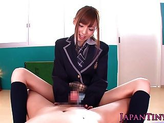 Petite Japanese Schoolgirl Pov Wanks And Sucks A Cock