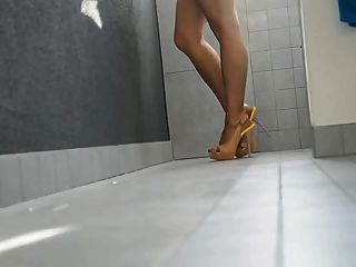 Long Legs In High Heels And Pantyhose
