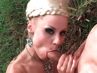 Leche 69 Oiled Up Blonde Fucked In The Backyard