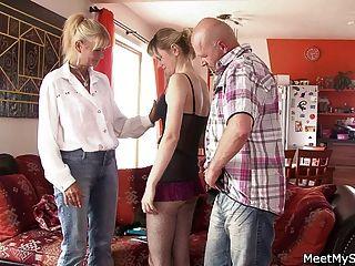 Moms Teaching Teens In Threesome