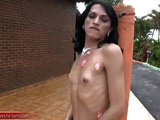 Tranny Blowjobs Her Own Big Dick And Cum