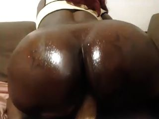 Black Booty Rides White Dick On Pov Webcam (no Sound)
