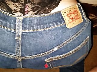 Releasing A Load Of Cum On Her Jeans