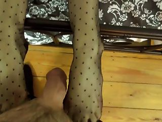 Nylon Footjob With Redhead Milf In Maid Costume