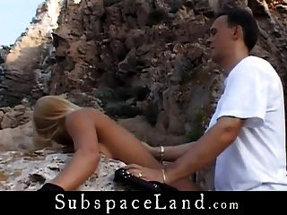 Blonde pimp tied by a sea cliff and fucked by her dom male 7