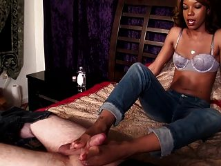 Beautiful Black Babe Footjob With Big Cumshot