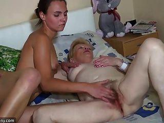 Oldnanny Hot Threesome Brunette Teen Masturbatting With Gran