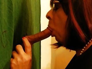 Glory Hole Blowjob With Cum Swallow