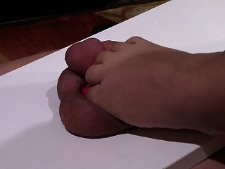 My Chubby Foot And Toes Torturing Hubbys Penis Cbt