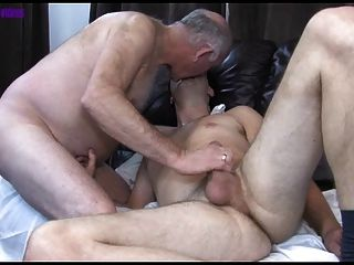 chubby grandpa and son Naked