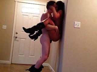 Cute Brunette Babe Gets Fucked In Hallway