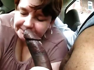 Chubby Mature Sucks Big Black Cock In Car