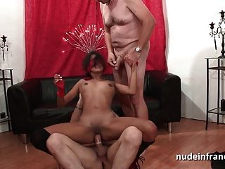 Skinny French Tanned Slut Anal Pounded In Threesome