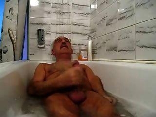 Mustache Grandpa Relaxing And Cum In Bathtub