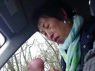 Homemade, Older Chinese Lady Wanks Cock In Car