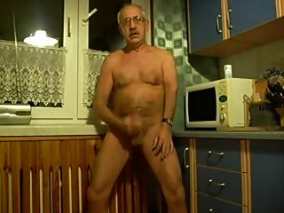 Horny Grandpa Jerk Of In Kitchen